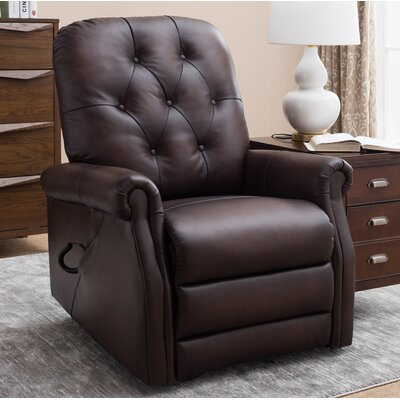 Airlia Leather Power Lift Assist Recliner Upholstery: Dark Brown