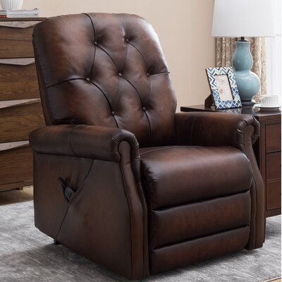 Airlia Leather Power Lift Assist Recliner Upholstery: Light Brown