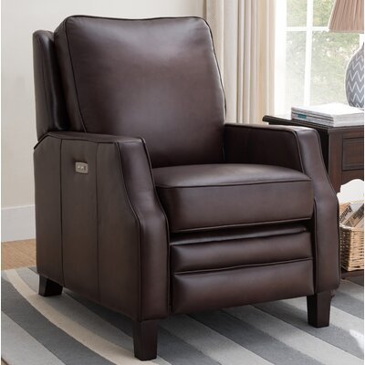 Sussman Leather Power Recliner Upholstery: Dark Brown