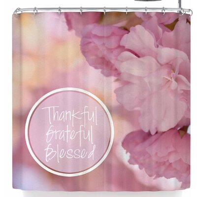 Robin Dickinson Thankful Grateful Blessed Shower Curtain