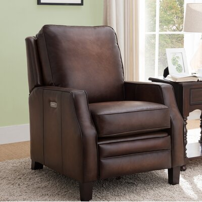 Sussman Leather Power Recliner Upholstery: Light Brown