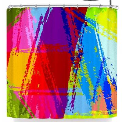 Roberlan Rainbow Chaos Shower Curtain