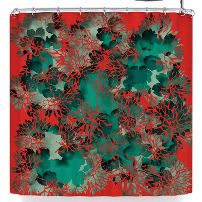 Rosa Picnic Coral Abstract Shower Curtain