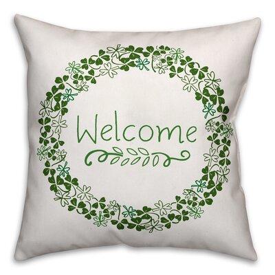 Benites Welcome Clover Wreath Throw Pillow