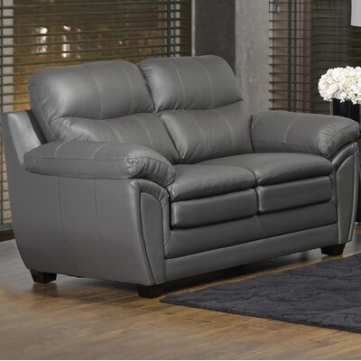 Coyle Leather Loveseat Upholstery: Light Gray