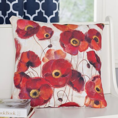 Claudine Poppies Throw Pillow Size: 16 H x 16 W x 4 D