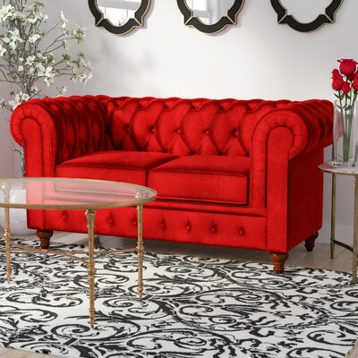 Elstone Chesterfield Loveseat Upholstery: Red, Finish: Brown