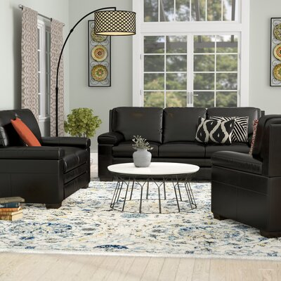 Devry 3 Piece Grey Leather Living Room Set