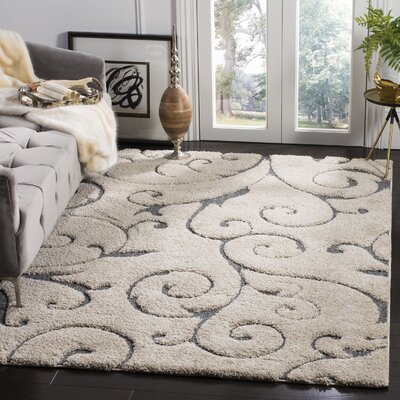 Remick Cream/Light Blue Area Rug Rug Size: Round 6 7
