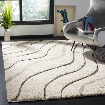 Grimmett Cream/Light Blue Area Rug Rug Size: Rectangle 4 x 6