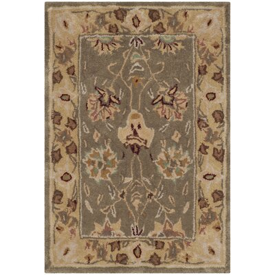 Angus Hand-Hooked Sage/Beige Area Rug Rug Size: Rectangle 2 x 3