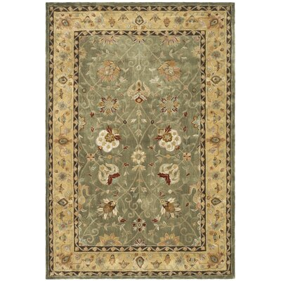 Angus Hand-Hooked Sage/Beige Area Rug Rug Size: Rectangle 3 x 5