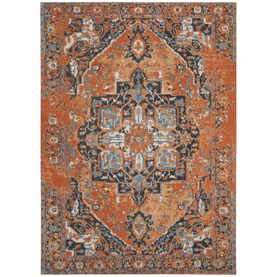 Chenault Orange/Navy Area Rug Rug Size: Rectangle 8 x 10