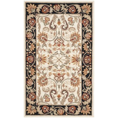 Kapur Hand-Hooked Ivory/Navy Area Rug Rug Size: Rectangle 8 x 10