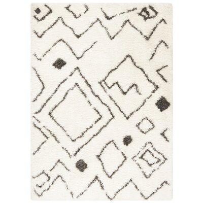 Casperson Ivory/Charcoal Area Rug Rug Size: Rectangle 8 x 10