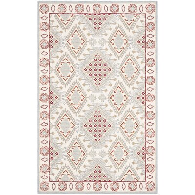 Ebling Hand Tufted Wool Ivory/Red Area Rug Rug Size: Round 5