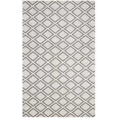 Costillo Hand-Tufted Wool Silver/Dark Gray Area Rug Rug Size: Square 5