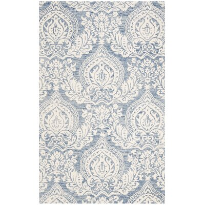 Jones Street Hand-Tufted Wool Blue/Ivory Area Rug Rug Size: Round 5