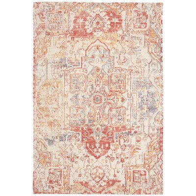 Cheng Hand-Loomed Red/Creme Area Rug Rug Size: Rectangle 4 x 6