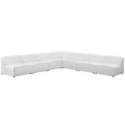 Colbert 7 Piece Upholstered Sectional Upholstery: White