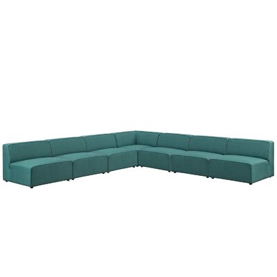 Colbert 7 Piece Upholstered Sectional Upholstery: Teal