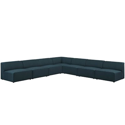 Colbert 7 Piece Upholstered Sectional Upholstery: Blue