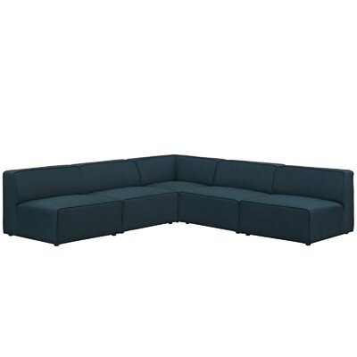 Colbert 5 Piece Upholstered Sectional Sofa Upholstery: Blue