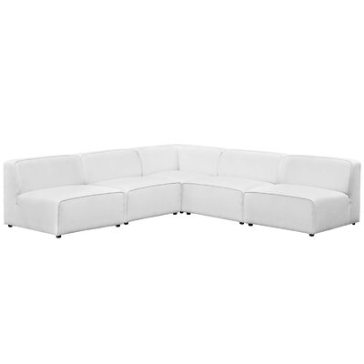 Colbert 5 Piece Upholstered Sectional Sofa Upholstery: White