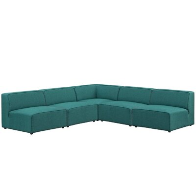 Colbert 5 Piece Upholstered Sectional Sofa Upholstery: Teal