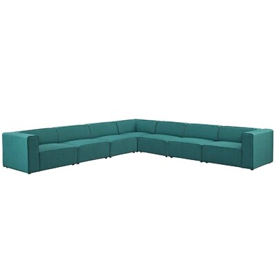 Colbert 7 Piece Upholstered Modular Sectional Upholstery: Teal