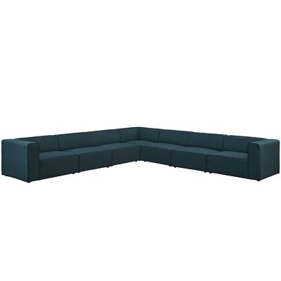 Colbert 7 Piece Upholstered Modular Sectional Upholstery: Blue