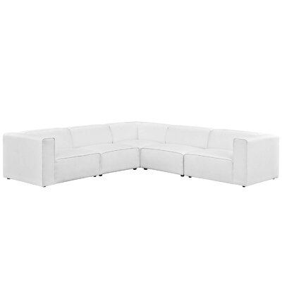 Colbert 5 Piece Upholstered Modular Sectional Upholstery: White