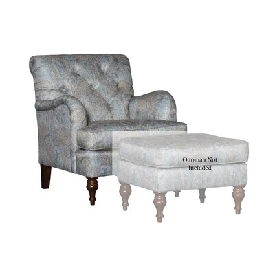 Culbreth Club Chair Upholstery: Paisley Opal Damask, Finish: Walnut