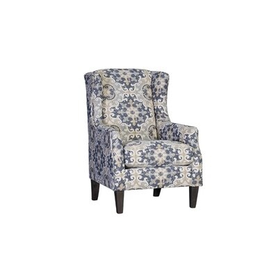 Huckins Wingback Chair Upholstery: Polyester Bennington Storm Paisley, Finish: Driftwood