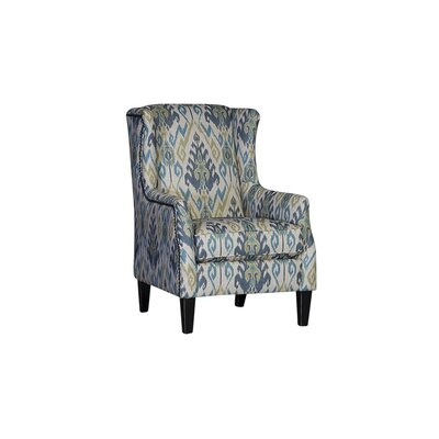 Huckins Wingback Chair Upholstery: Matmi Seaglass Damask, Finish: Old World Black