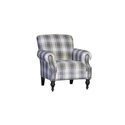 Crutchfield Club Chair Upholstery: Linen Blair Gravel Plaid, Finish: Driftwood