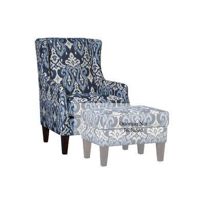 Huckins Wingback Chair Upholstery: Polyester Makatea Indigo Damask, Finish: Espresso