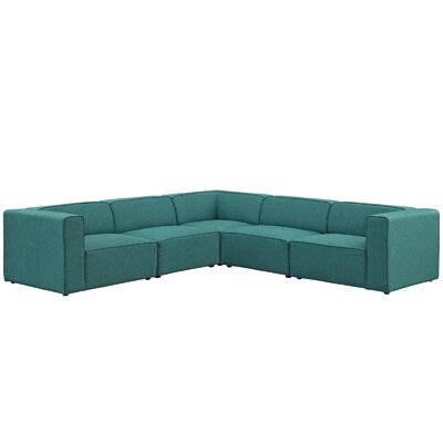 Colbert 5 Piece Upholstered Modular Sectional Upholstery: Teal