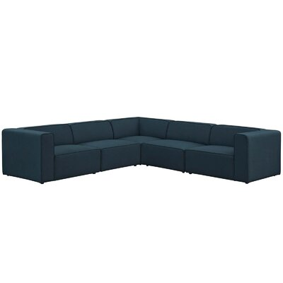 Colbert 5 Piece Upholstered Modular Sectional Upholstery: Blue