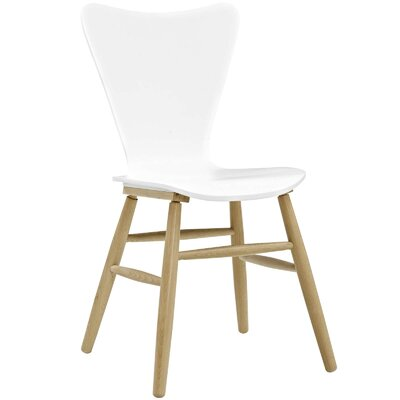 Coleman Wood Upholstered Dining Chair Finish: White