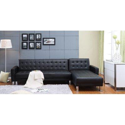 Hammes Tufted Sleeper Sectional Upholstery: Black
