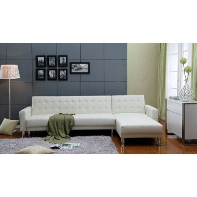 Hammes Tufted Sleeper Sectional Upholstery: White