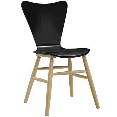 Coleman Wood Upholstered Dining Chair Finish: Black