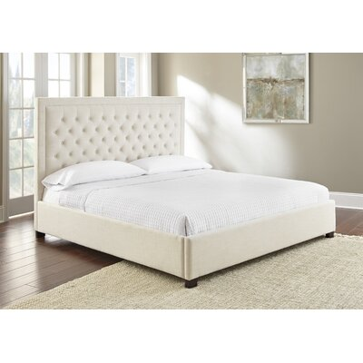 Hanlin Upholstered Panel Bed Color: White, Size: King