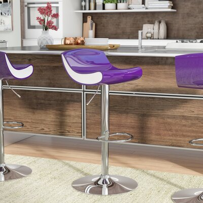 Arlington Adjustable Height Swivel Bar Stool Color: Purple/White