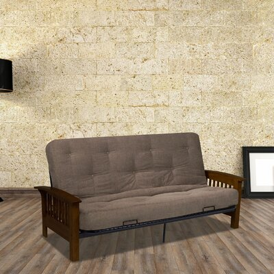 Monaco Convertible Sofa Size: Full, Upholstery: Light Brown, Color: Dark Walnut
