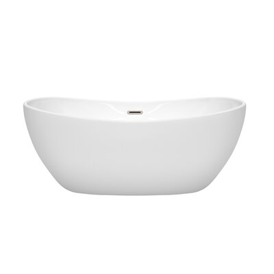 Rebecca 60 x 32 Freestanding Soaking Bathtub Finish: Brushed Nickel