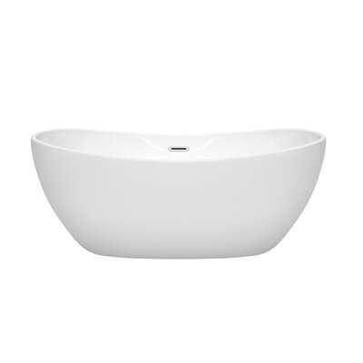 Rebecca 60 x 32 Freestanding Soaking Bathtub Finish: Polished Chrome