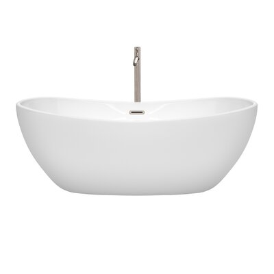 Rebecca 65 x 32 Freestanding Soaking Bathtub Finish: Brushed Nickel