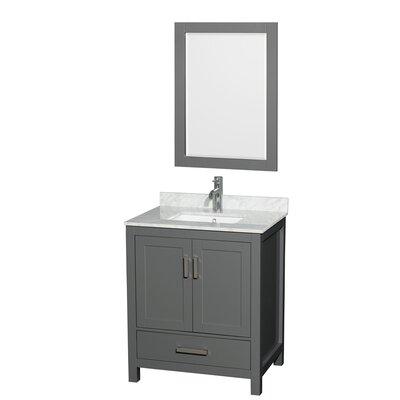 Sheffield 30 Single Bathroom Vanity Set with Mirror Top Finish: White Carrara
